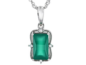 Green Onyx Rhodium Over Sterling Silver Pendant with Chain 0.08ctw