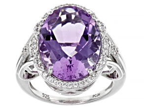 Lavender Amethyst Rhodium Over Sterling Silver Ring 8.46ctw