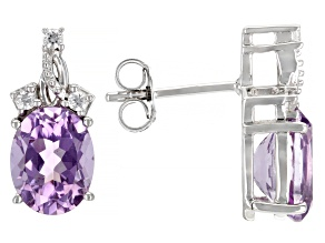 Lavender Amethyst Rhodium Over Sterling Silver Earrings 2.99ctw