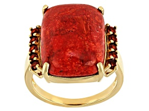 Red Sponge Coral 18K Yellow Gold Over Sterling Silver Ring. 0.34ctw