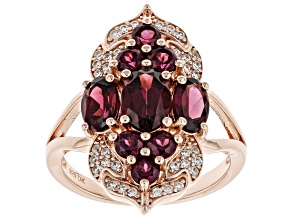 Purple Rhodolite 18k Rose Gold Over Sterling Silver Ring 2.85ctw