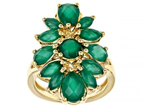 Green Onyx 18k Yellow Gold Over Sterling Silver Ring. 3.14ctw