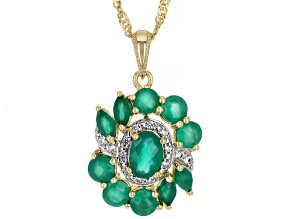 Green Onyx With White Zircon 18k Yellow Gold Over Silver Pendant With chain. 1.93ctw
