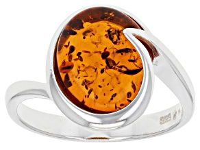 Yellow Amber Sterling Silver Solitaire Ring