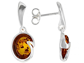 Yellow Amber Sterling Silver Solitaire Earrings