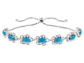 Blue Sleeping Beauty Turquoise Rhodium Over Sterling Silver Sliding Adjustable Bracelet
