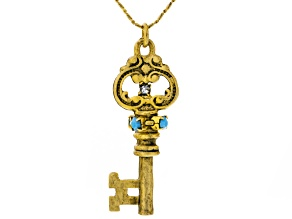 Swarovski Elements ™ Antiqued Gold Tone Key Necklace