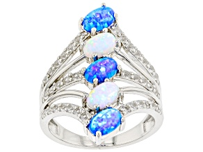 Blue Lab Created Opal Rhodium Over Sterling Silver Ring .61ctw.