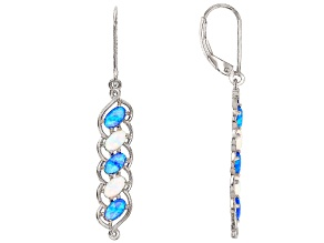 Blue Lab Created Opal Rhodium Over Sterling Silver Dangle Earrings .93ctw
