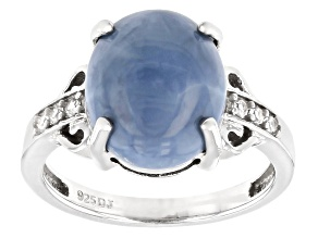 Blue Opal Rhodium Over Sterling Silver Ring .10ctw