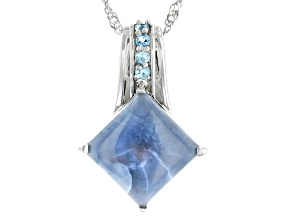 Blue Opal Rhodium Over Sterling Silver Pendant With Chain