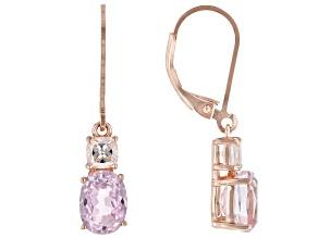Pink Kunzite 18k Rose Gold Over Sterling Silver Earrings 3.65ctw