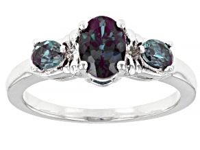Blue Lab Created Alexandrite Rhodium Over Sterling Silver Ring 1.03ctw