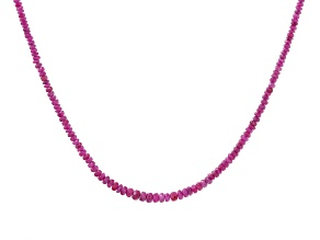 Red Ruby Rhodium Over Sterling Silver Beaded Necklace
