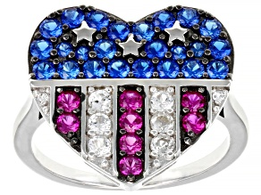 Blue Lab Created Spinel Rhodium Over Silver Heart Ring 1.41ctw.