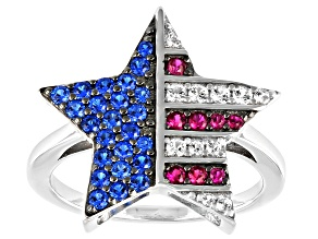 Blue Lab Created Spinel Rhodium Over Sterling Silver Star Ring .62ctw