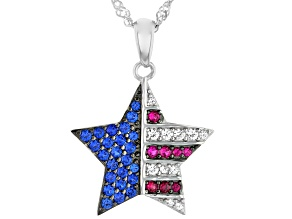 Blue Lab Created Spinel Rhodium Over Silver Pendant With Chain .62ctw