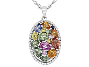 Multi-Color Sapphire Rhodium Over Sterling Silver Pendant With Chain 4.03ctw