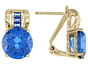 Blue Lab Created Spinel 18k Yellow Gold Over Sterling Silver Earrings 6.75ctw