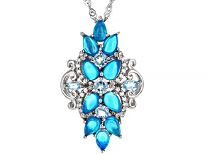 Paraiba Blue Color Opal Rhodium Over Silver Pendant With Chain 0.68ctw