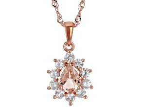 Pink Morganite With 18k Rose Gold Over Silver Pendant With Chain 1.72ctw