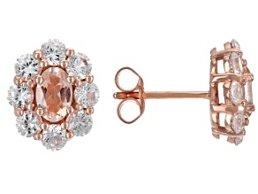Pink Morganite 18k Rose Gold Over Sterling Silver Stud Earrings 2.26ctw