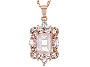 Pink Rose Quartz 18k Rose Gold Over Sterling Silver Pendant With Chain 1.58ctw