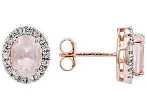 Pink Rose Quartz 18k Rose Gold Over Sterling Silver Halo Earrings .32ctw