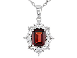 Red Garnet Rhodium Over Sterling Silver Pendant With Chain 3.84ctw