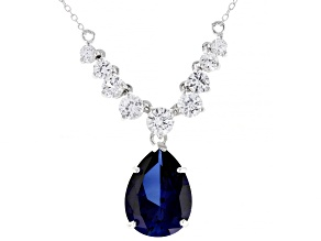 Blue Lab Created Sapphire Rhodium Over Sterling Silver Necklace. 11.31ctw