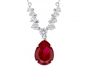Red Lab Created Ruby Rhodium Over Silver Necklace 10.79ctw