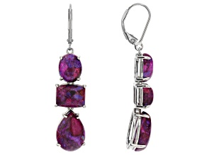 Purple Turquoise Rhodium Over Sterling Silver Dangle Earrings