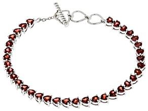 Red Garnet Rhodium Over Sterling Silver Tennis Bracelet 10.00ctw