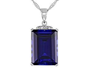 Blue Lab Created Sapphire Rhodium Over Sterling Silver Pendant With Chain 11.98ctw