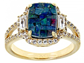 Multi-Color Mosaic Triplet Opal 18k Yellow Gold Over Sterling Silver Ring .77ctw