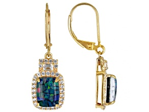 Multi-Color Mosaic Opal Triplet 18k Yellow Gold Over Sterling Silver Dangle Earrings .87ctw