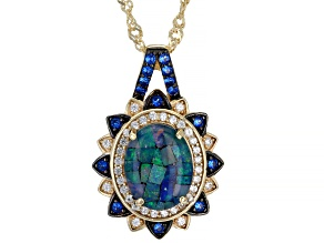 Multi-Color Mosaic Triplet Opal 18k Gold Over Sterling Silver Pendant With Chain .36ctw
