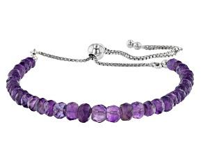 Graduated Rondelle Purple Amethyst Rhodium Over Silver Bolo Bracelet.