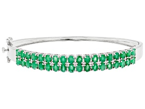 Green Emerald Rhodium Over Sterling Silver Bangle Bracelet 4.89ctw