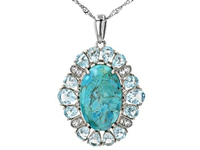 Blue Turquoise Rhodium Over Sterling Silver Pendant With Chain 2.35ctw