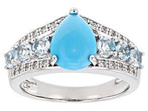 Blue Sleeping Beauty Turquoise Rhodium Over Sterling Silver Ring .85ctw