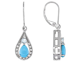 Blue Sleeping Beauty Turquoise Rhodium Over Sterling Silver Dangle Earrings .33ctw