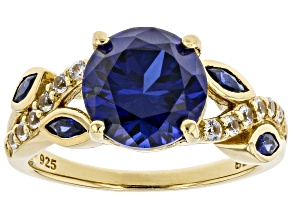 Blue Lab Created Sapphire 18k Yellow Gold Over Sterling Silver Ring 3.38ctw