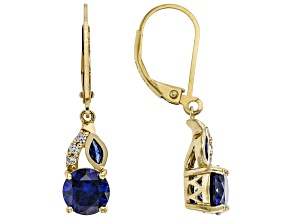 Blue Lab Created Sapphire 18k Yellow Gold Over Sterling Silver Dangle Earrings 2.79ctw