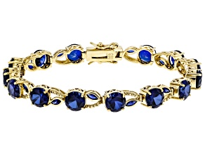 Blue Lab Created Sapphire 18k Yellow Gold Over Sterling Silver Bracelet 20.11ctw