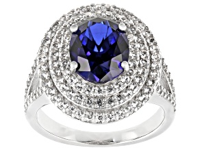 Blue Lab Created Sapphire Rhodium Over Sterling Silver Ring 4.02ctw