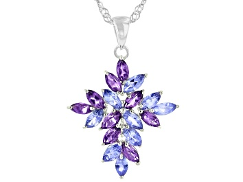Picture of Blue Tanzanite Rhodium Over Sterling Silver Cross Pendant With Chain 2.36ctw