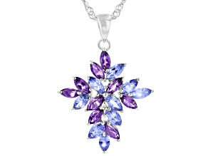 Blue Tanzanite Rhodium Over Sterling Silver Cross Pendant With Chain 2.36ctw