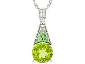 Green Peridot Rhodium Over Sterling Silver Pendant With Chain 2.68ctw