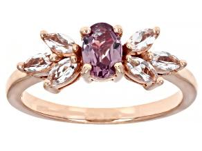 Color Shift Garnet 18k Rose Gold Over Sterling Silver Ring 0.99ctw
